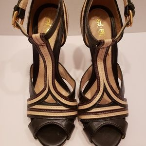 L.A.M.B black, brown and cream ankle strap sandals
